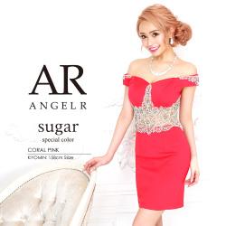 [ウエストシアーパール&ビジューオフショルダータイトミニドレス]AngelR(エンジェルアール)|AR9324