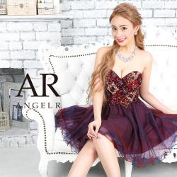 [ハートカットビジューミックスカラーフレアミニドレス]AngelR(エンジェルアール)|AR9340