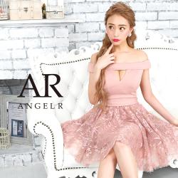 [デザイン柄オフショルダーフレアミニドレス]AngelR(エンジェルアール)|AR9501