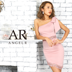 [レース切替えワンショルダーリボンタイトミニドレス]AngelR(エンジェルアール)|AR9819