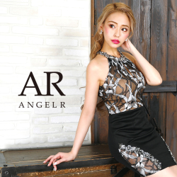 【予約(ブラック/S)(パープル/S)2月下旬から3月上旬より発送】[フラワーデザイン切替えタイトミニドレス]AngelR(エンジェルアール) AR9830