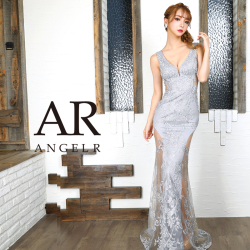【予約(ホワイト/S・M)(グレー/S)(ブラック/S・M)3月下旬から4月上旬より発送】[フラワーレースデザインタイトロングドレス]AngelR(エンジェルアール)|AR9834