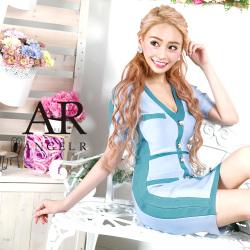 [バイカラーショートスリーブバンデージミニドレス]AngelR(エンジェルアール)|AR9907