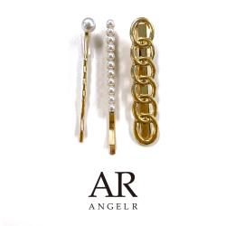 [ホワイトパールゴールドヘアピンセット]AngelR(エンジェルアール)|HA005YX