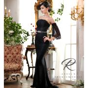 Angel R PREMIUM(エンジェルアールプレミアム)[フレアスリーブ総レースタイトロングドレス]ロングドレス ベアトップ ストーン ビジュー 高級 高品質 パーティー バースデー 披露宴 AP80801