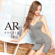 [Vカットバストビジュースリットタイトミニドレス]AngelR(エンジェルアール) AR20234
