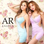 【予約】[サックス/XSサイズ][ブラック・サックス・パープル/Sサイズ][ベージュ・ブラック・サックス・パープル/Mサイズ]5月中旬から5月下旬より発送[バストラインビジューアシンメトリータイトミニドレス]AngelR(エンジェルアール) AR21808