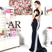 [袖フリルバイカラーレースロングドレス]AngelR(エンジェルアール)|AR9222