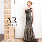 【予約】[フラワーレースビジューワンショルダータイトロングドレス]AngelR(エンジェルアール)|AR9318【4月上旬〜中旬頃より発送】