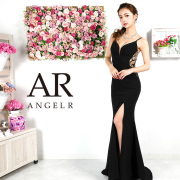 【予約】[ブラック・ピンクベージュ・ホワイト・レッド・ブルー/Sサイズ][ブラック・グリーン・ピンクベージュ・ホワイト・ブルー/Mサイズ]9月下旬から10月上旬より発送[バックビジューデザインタイトロングドレス]AngelR(エンジェルアール)|AR9331