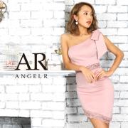 【予約】[レース切替えワンショルダーリボンタイトミニドレス]AngelR(エンジェルアール)|AR9819【9月中旬~下旬頃より発送】