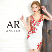 [カラーフラワー刺繍デザインタイトミニドレス]AngelR(エンジェルアール) AR9829