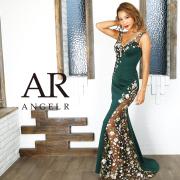 【予約(グリーン/S・M)(ネイビー/M)(ブラック/M)1月中旬から下旬発送】[カラーフラワー刺繍デザインタイトロングドレス]AngelR(エンジェルアール) AR9833