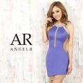 【予約(ホワイト/S・M)(ダークパープル/S・M)(ブルー/S・M)11月下旬から12月上旬発送】[デコルテオーロラビジューシアーカットスカートタイトミニドレス]AngelR(エンジェルアール)|AR20326