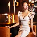 【予約/11月中旬から11月下旬より発送】[フリルスリーブバストビジュータイトミニドレス]AngelR(エンジェルアール)|AR21347