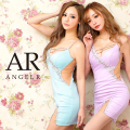 【予約】[サックス/XSサイズ][ブラック・サックス・パープル/Sサイズ][ベージュ・ブラック・サックス・パープル/Mサイズ]5月中旬から5月下旬より発送[バストラインビジューアシンメトリータイトミニドレス]AngelR(エンジェルアール)|AR21808