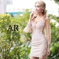 【予約/11月上旬から11月中旬より発送】[バストクロスデザインロングスリーブメッシュタイトミニドレス]AngelR(エンジェルアール)|AR21844