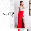 上品 レース刺繍 カラーストーン ヌーディ タイト系 ロングドレス|高級キャバドレスAngelR(エンジェルアール)|(AR6327)