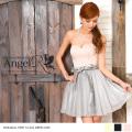 ミニドレス フレア ワンピース ベアトップ オフショルダー リボン ドレス 細い 小さい サイズ調整可能 キャバ パーティー 女子会 結婚式|高級キャバドレスAngelR(エンジェルアール)|AR7501