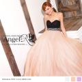 ロングドレス ハイウエスト パール&ビジュー ギャザー ベアトップ ウェディングドレス|高級キャバドレスAngelR(エンジェルアール)|AR7707