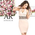 【予約】[ウエストメタリックビジューデザインカットタイトミニドレス]AngelR(エンジェルアール)|AR9221【7月中旬〜7月下旬頃より発送】