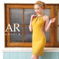 [ネックビジューサイドシアーレースタイトミニドレス]AngelR(エンジェルアール)|AR9313
