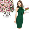 【予約(ブラック/S)(グリーン/S・M)11月上旬から中旬発送】[ネックリボンニーレングスタイトドレス]AngelR(エンジェルアール)|AR9326