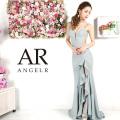 【予約(グレー)(ネイビー)(シャンパンベージュ)3月下旬から4月上旬より発送】[ラメグリッターフリルスリットロングドレス]AngelR(エンジェルアール)|AR9332