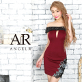 [フラワーモチーフオフショルダータイトミニドレス]AngelR(エンジェルアール)|AR9342