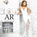 【予約(ホワイト/S・M)(サックス/S・M)4月下旬から5月上旬発送】[レース切替えサイドシアータイトロングドレス]AngelR(エンジェルアール)|AR9343