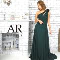 [フラワーモチーフワンショルダーフレアロングドレス]AngelR(エンジェルアール)|AR9344