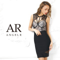 [レースデコルテデザインシアーレッグバンデージミニドレス]AngelR(エンジェルアール)|AR9905