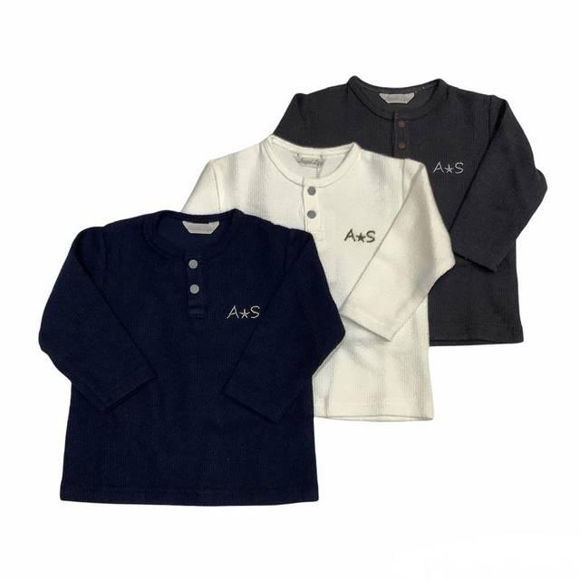 【日本製 子供服】 ヘンリー長袖Tシャツ [80~130cm]