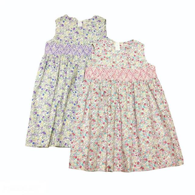 【日本製 子供服】 花柄 スモッキング刺繍 ジャンパースカート [100~140cm]