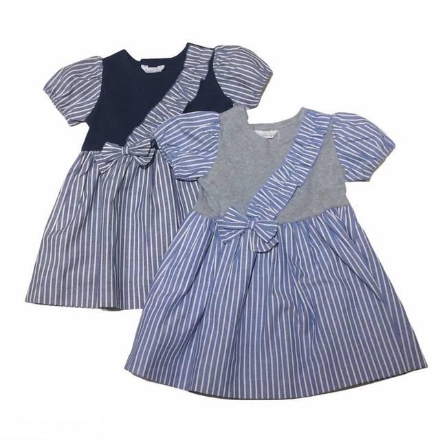 【日本製 ベビー 子供服】 ストライプリボン付 ワンピース [80~130cm]