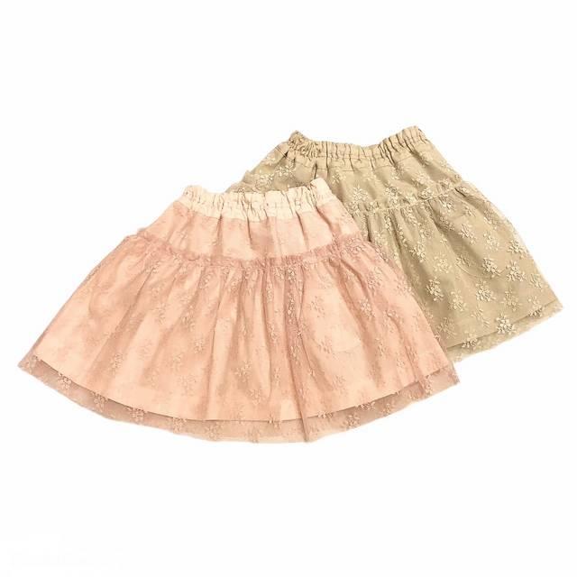 【日本製 ベビー 子供 服】 レーススカート [80~140cm]