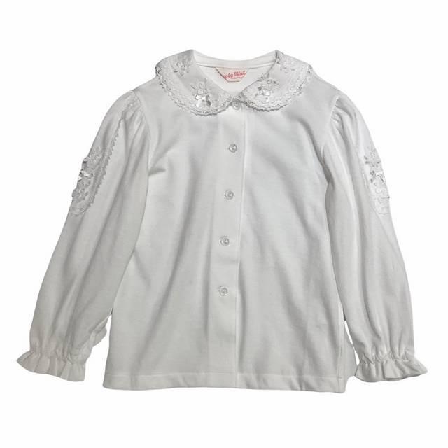 【日本製 子供服】 襟レース 長袖 ブラウス [100~140cm]