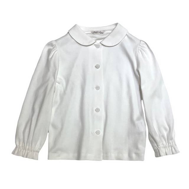 【日本製 子供服】 シンプル 長袖 ブラウス [100~140cm]