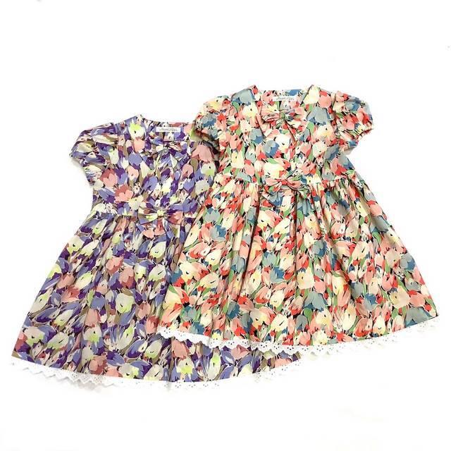 【日本製 ベビー 子供服】 チューリップモダン柄ワンピース[100~140cm]