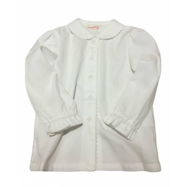 【日本製 子供服】 襟スカラップレース 長袖 ブラウス [100~140cm]