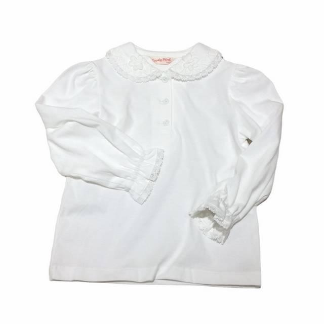 【日本製 子供服】 襟ハートレース 長袖 ブラウス [100~140cm]