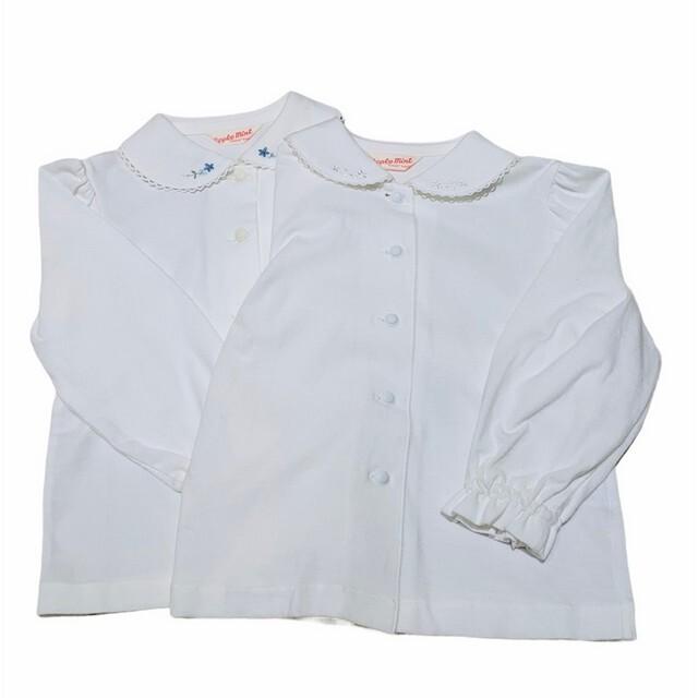 【日本製 子供服】 小花柄刺繍 長袖 ブラウス [100~140cm]