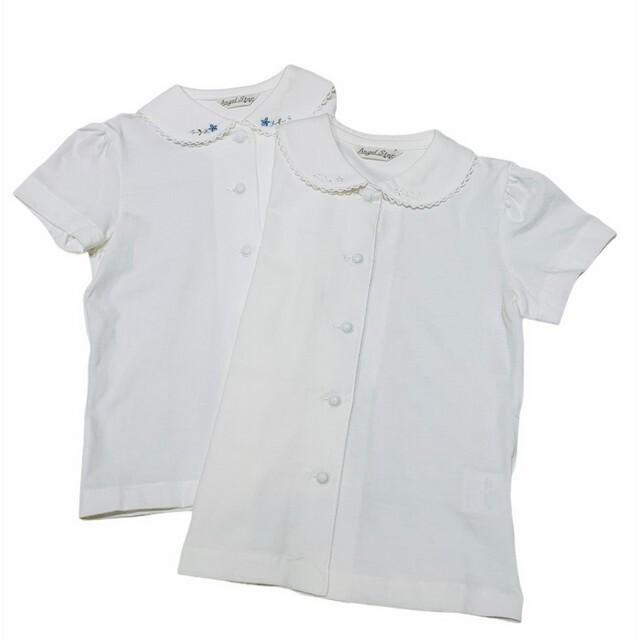 【日本製 子供服】 襟刺繍 半袖 ブラウス [100~140cm]