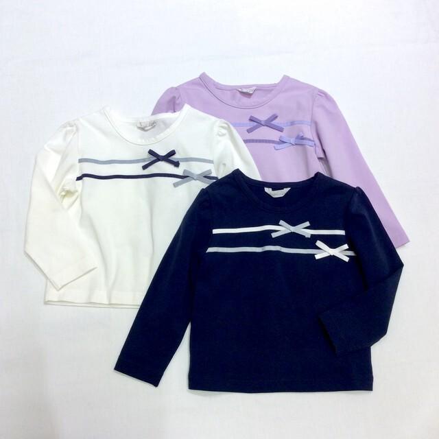 【日本製 ベビー 子供 服】 テープリボン Tシャツ