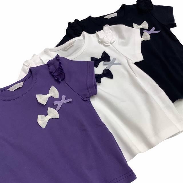 【日本製 ベビー服 】 リボン3つTシャツ [80~140cm]