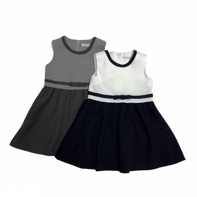 【日本製 子供服】 ジャンパースカート 無地切替えリボン付き [100~140cm]