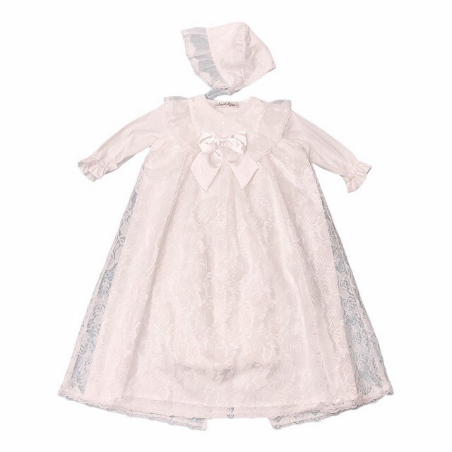 【日本製 新生児】 サテンリボン付きセレモニードレス 50cm~70cm
