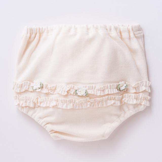 【日本製 新生児】オーガニックコットン100% 花飾り ブルマ