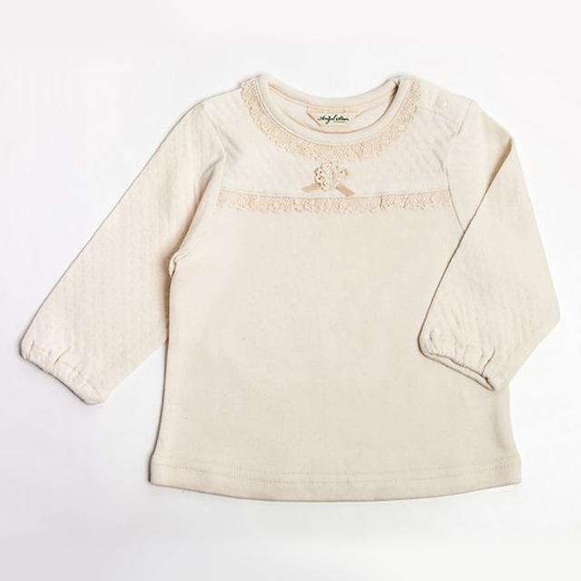 【日本製 ベビー服】オーガニックコットン 100% 無地フリルリボン付 Tシャツ