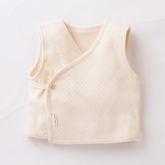 オ-ガニックコットン100% 新生児用ダイヤ柄リバーシブルベスト 50cm~70cm